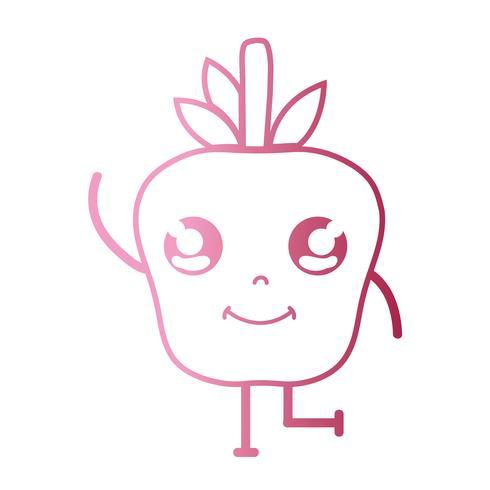 lijn kawaii schattig gelukkig appel fruit vector