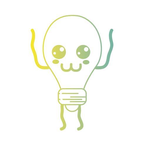 lijn kawaii schattige gelukkig lamp energie vector