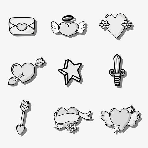 decor voor Valentijnsdag patches instellen vector