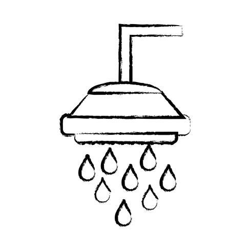 figuur sanitair buis douche met waterdruppels vector