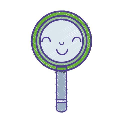 Kawaii schattig gelukkig vergrootglas vector