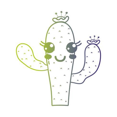lijn schattig gelukkig cactus plant vector