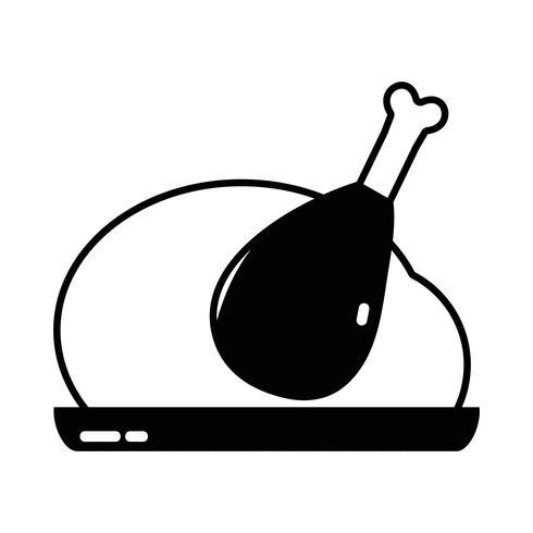 contour heerlijke kip eten gebraden smaak vector