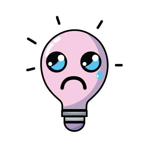 kawaii schattig huilende lamp idee vector