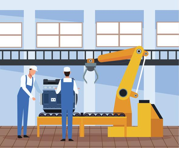 Werknemer op autofabriek vector