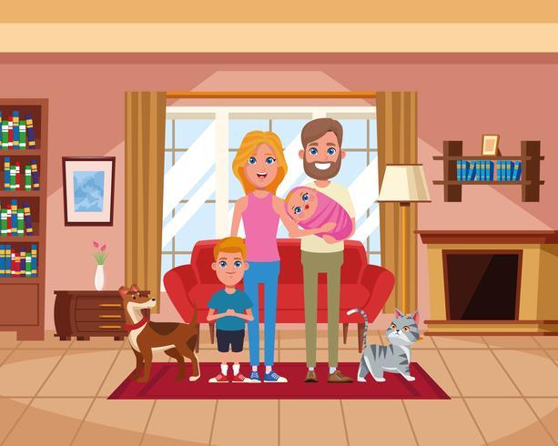 Familie binnen de tekenfilms van het huislandschap vector
