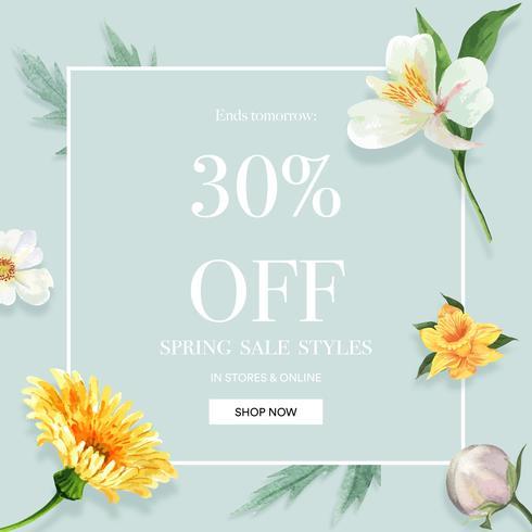 De lente sociale media kader verse bloemen, decorkaart met bloemen kleurrijke tuin, huwelijk, uitnodiging, ontwerp van de waterverf het vectorillustratie vector