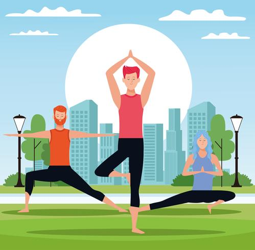 mensen doen yoga vector