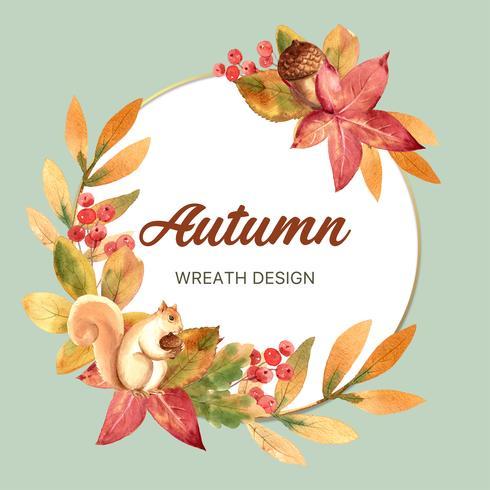 Herfst seizoen krans frame met bladeren en dieren. De kaarten van de herfstgroeten perfect voor druk, uitnodiging, malplaatje, het creatieve ontwerp van de waterverf vectorillustratie vector
