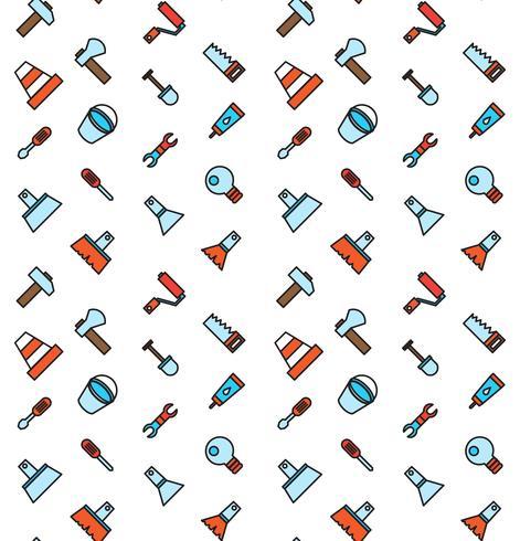 Het construeren en bouwen van pictogrammen naadloos patroon vector
