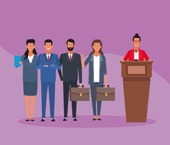 zakelijke medewerker in een conferenties vector