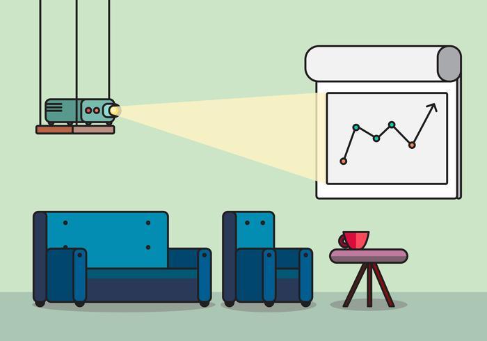 Presentatieruimte met projector en comfortabele stoelen vector