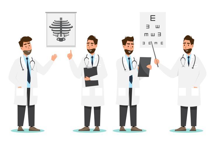 Set van arts stripfiguren. Medisch personeel team concept in het ziekenhuis vector