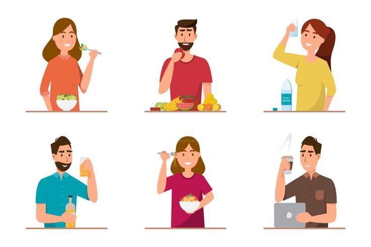 mensen die gezond voedsel en fast food eten met een ander karakter vector
