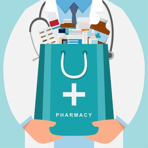 apotheekachtergrond met arts die een geneeskundezak houdt vector