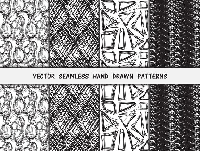 Hand getrokken naadloze patronen set vector