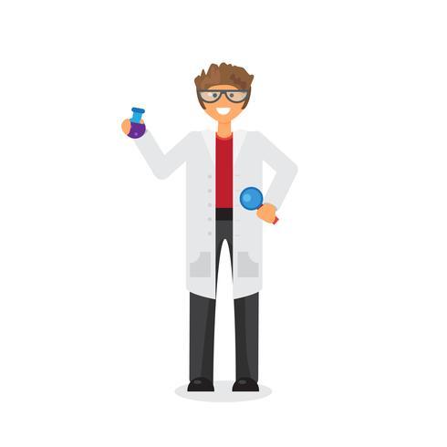 Wetenschapper substantie in fles vector