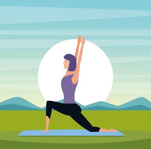 vrouw in yoga houdingen vector