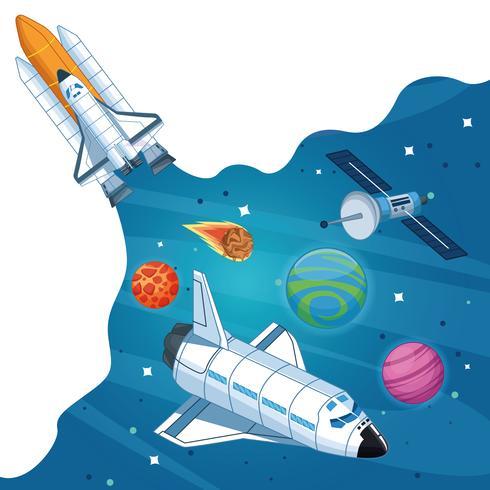 Ruimteschip in de Melkweg vector