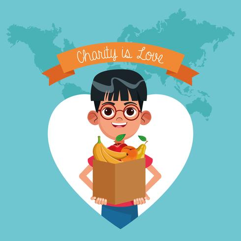 Liefdadigheid is liefde cartoon vector
