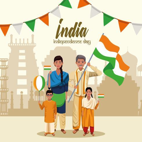 India Onafhankelijkheidsdag kaart vector