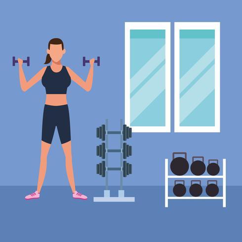fitness vrouw doet oefening vector