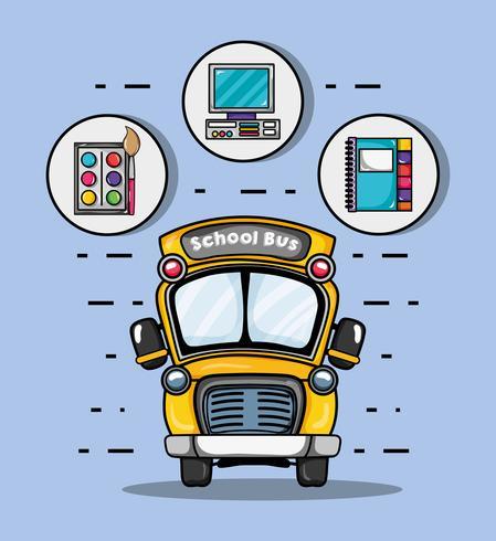 schoolbus met school gebruiksvoorwerpen pictogram vector