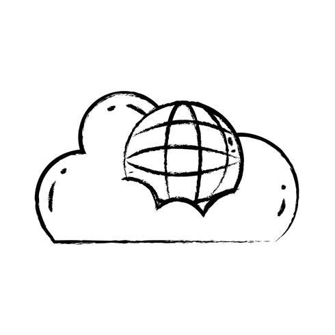 figuur cloud data met wereldwijde verbindingsserver vector