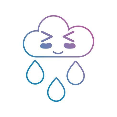 lijn kawaii schattig gelukkig wolk regent vector