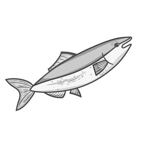 grijswaarden heerlijke zeevruchtenvis met natuurlijke voeding vector
