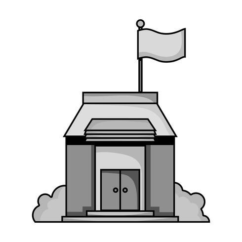 grijswaarden schoolonderwijs met dak- en deurenontwerp vector
