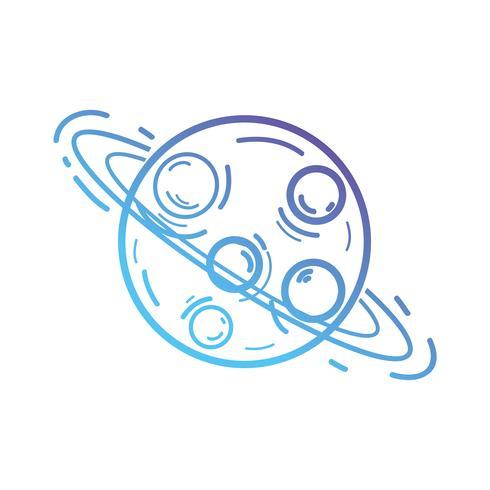 lijn uranusplaneet met zijn ringen in de ruimte van de melkweg vector