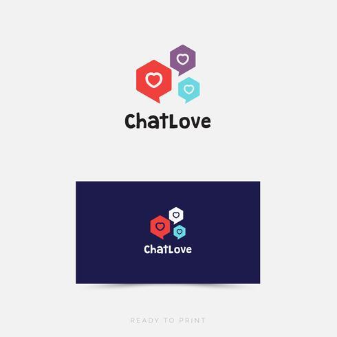 Logo Zakelijk chatlove eenvoudig ontwerp vector