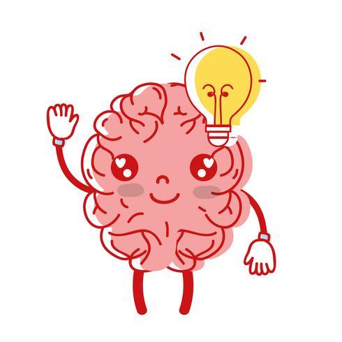 kawaii gelukkig brein met lamp idee vector