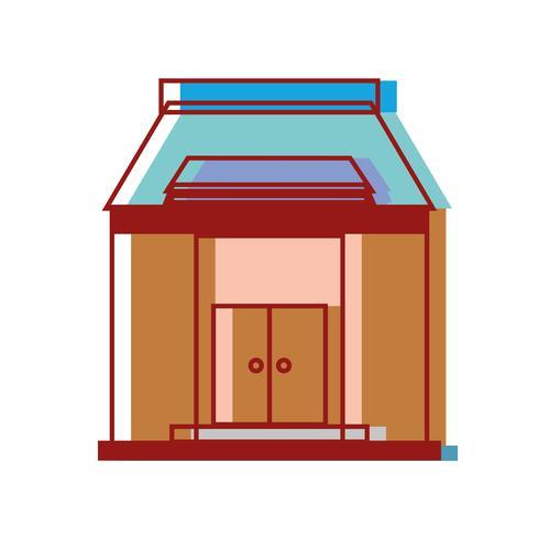 schoolonderwijs met dak- en deurenontwerp vector