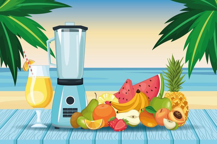 smoothies met fruitschaal en mixer vector