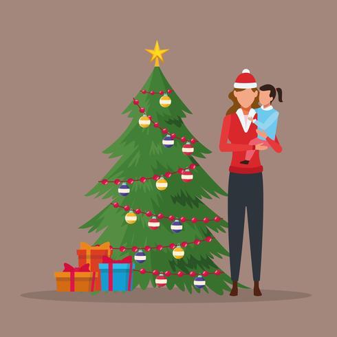 Vrolijk kerstfeest in familie vector