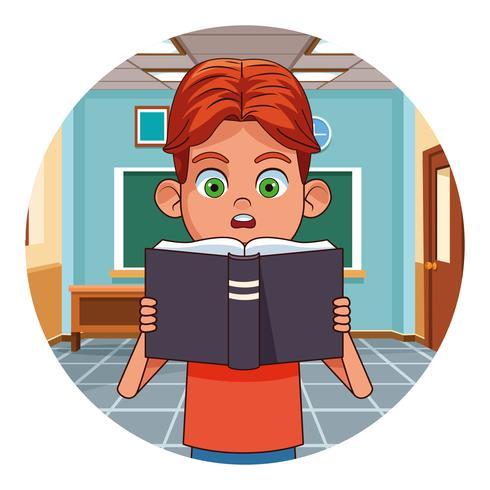 Kid leesboek in de klas vector