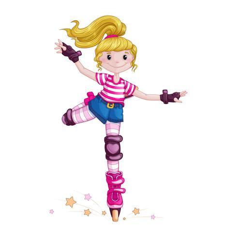 Tienermeisje rolschaatsen en sporttrucs doen. Kinderen in de sport. Skate op rolschaatsen. Vector stripfiguur.