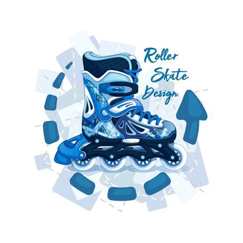 Rolschaatsen voor de jonge man. Sport stijl. Modern geometrisch patroon. Het embleem met een inscriptie en een achtergrond van bloemen. vector