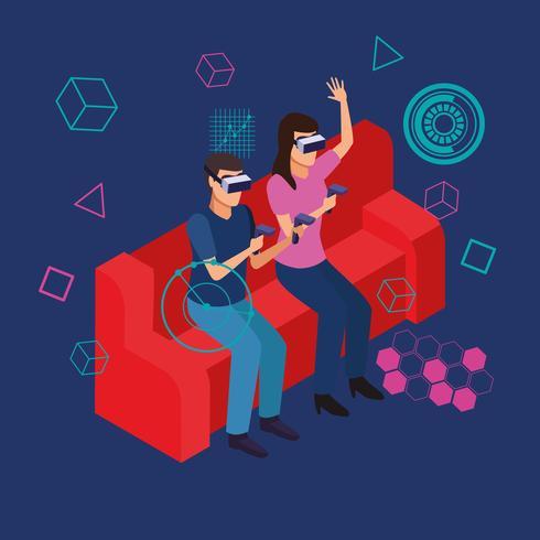 Paar spelen met virtual reality vector