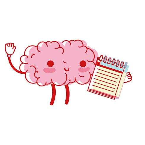 kawaii gelukkig brein met notebooktool vector
