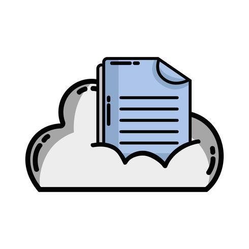 cloudgegevens met digitale documentinformatie vector