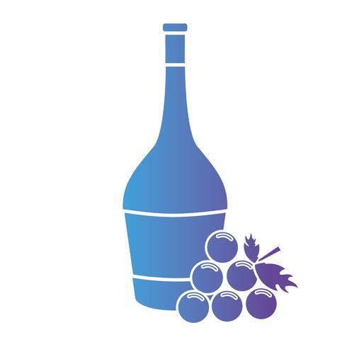 lijn wijnfles met druivenfruit vector