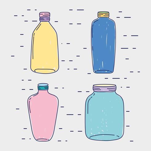 set pot mason glas met verschillende vormen vector