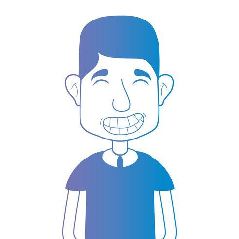 lijn avatar man met kapsel en t-shirt vector