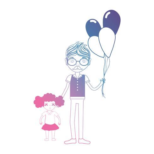 lijnvader met zijn dochter en ballonnenontwerp vector