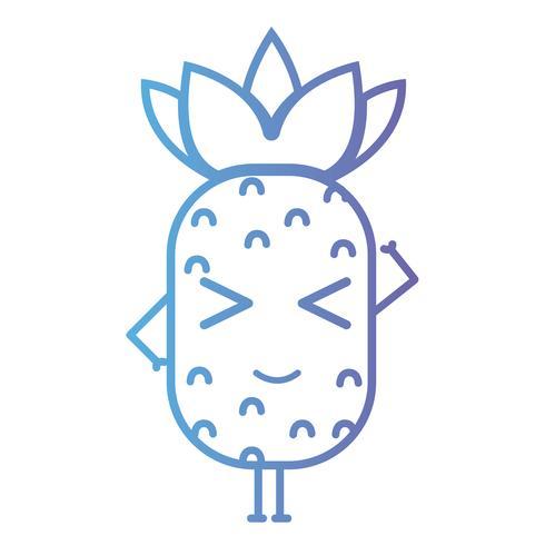 lijn kawaii schattig gelukkig ananas fruit vector