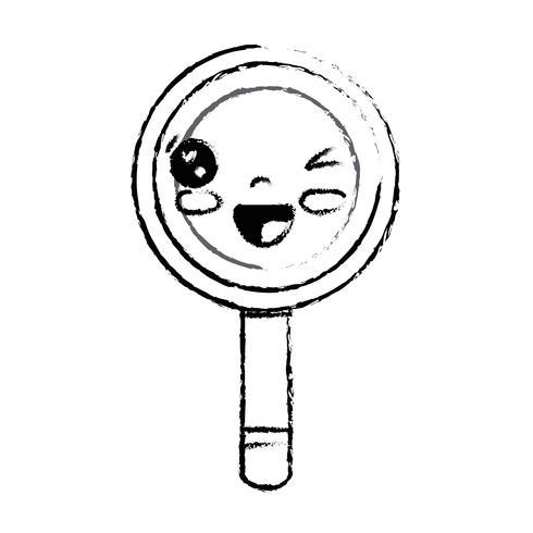 figuur kawaii schattig grappig vergrootglas vector
