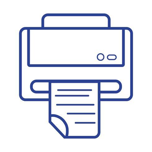 lijn printer machine technologie met bedrijfsdocument vector